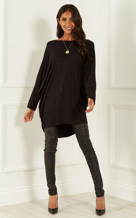 Black oversized open neck top by Bella and Blue