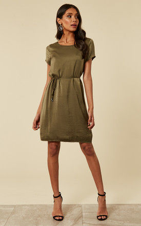 Ivy Green Jersey Dress With Tie Waist And Lace Back Detail by VILA