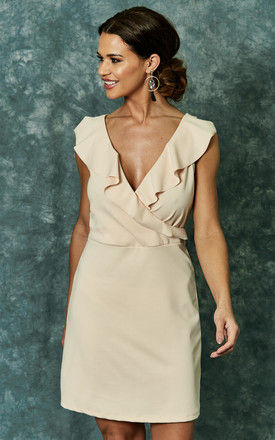 Sand scuba crepe dress with ruffle detail by The Vanity Room