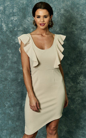 Stone knit ruffle detail dress with asymmetric hem by The Vanity Room