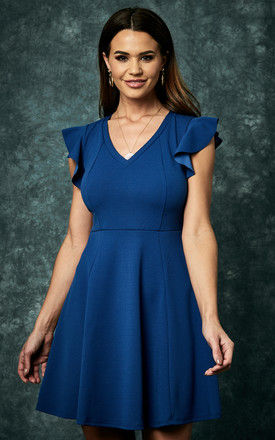 Sailor Blue Knit Crepe Fit & Flare Dress With Ruffle Detail by The Vanity Room