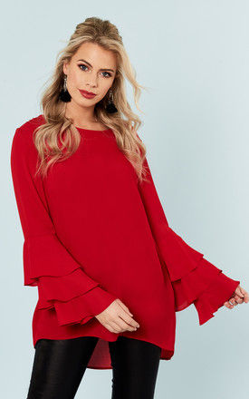 Red frill sleeve top by Bella and Blue