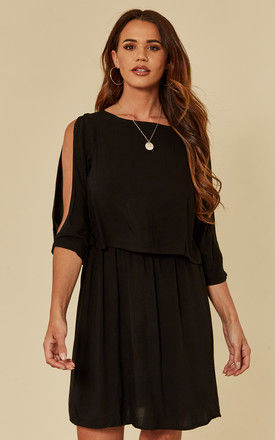 double layer dress in black by VM