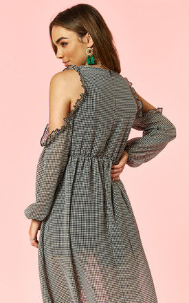 Gingham Cold Shoulder Frill Sleeved Dress by Glamorous