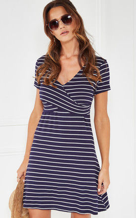 Ivory And Navy Striped Knit Dress With Wrap Detail by The Vanity Room