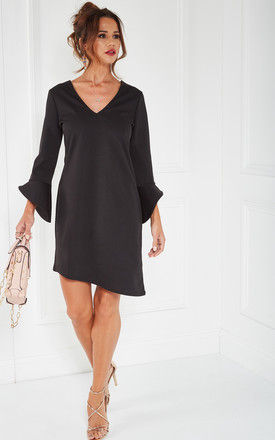 Black Ponte V Neck Dress With Standup Sleeve by The Vanity Room