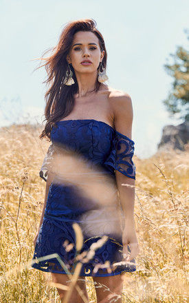 alchemy strapless dress in navy by Finders Keepers