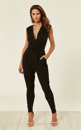 Black Stretch Wrap Non Crease Jumpsuit by WalG