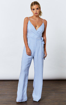 Blue Woven Stripe Backless Jumpsuit by If By Sea