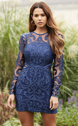 alchemy long sleeve mini dress in Navy by Finders Keepers