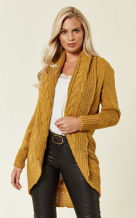 Chunky Pleat Long Cardigan in Mustard Yellow by Love