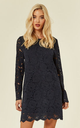 Navy Lace Long Sleeves Dress by DIVINE GRACE