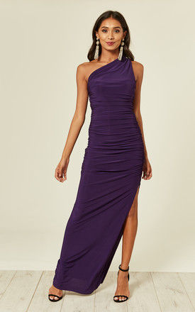 Angelina purple one shoulder maxi bridesmaid dress by Revie London