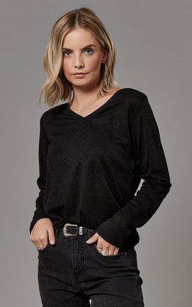 Black Long Sleeve V Neck Top by ONLY