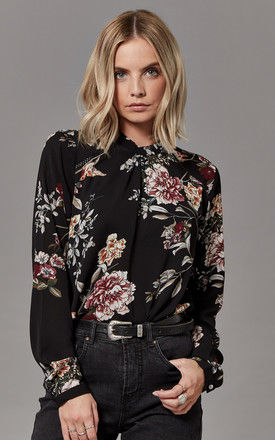 Black Floral Print Long Sleeve Blouse by ONLY