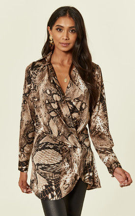 Snake Print Front Twist Top by MISSI LONDON