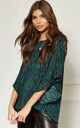 Green and Black Flared Sleeve Top by Bella and Blue