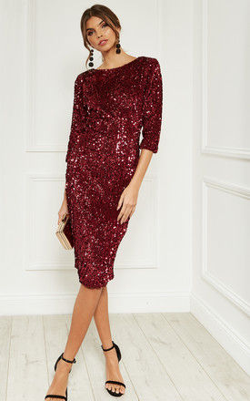 Wine Sequin Velvet Backless Midi Dress With Half Sleeves by Bella and Blue