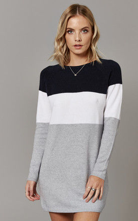 Night Sky Colour Block Long Sleeve Jumper Dress by ONLY