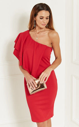 Red One Shoulder Ruffle Dress by Bella and Blue