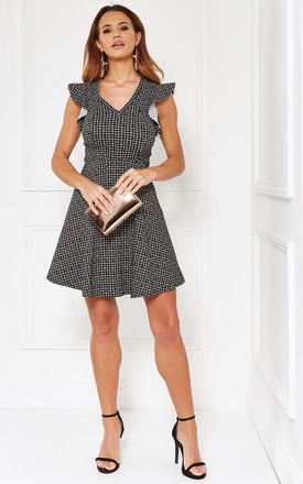 Black & White Knit Crepe Fit & Flare Dress With Ruffle Detail by The Vanity Room
