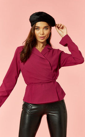 Magenta long sleeve wrap top by Glamorous