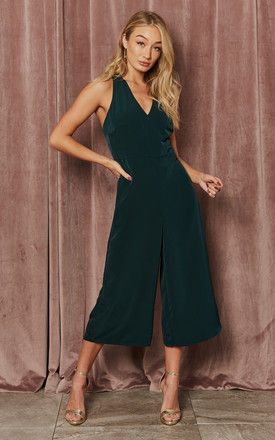 Adriana Forest Green twist back strap jumpsuit by India Gray