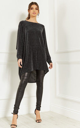 Dark Grey Oversized Dipped Hem shimmer top by Bella and Blue
