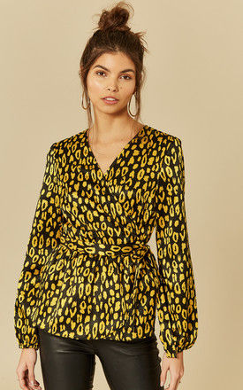 Black And Gold Leopard Print Wrap Top by Pieces
