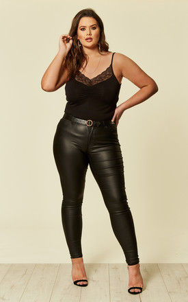 Plus Size Black Extra Slim Coated Jeans by Juna Rose