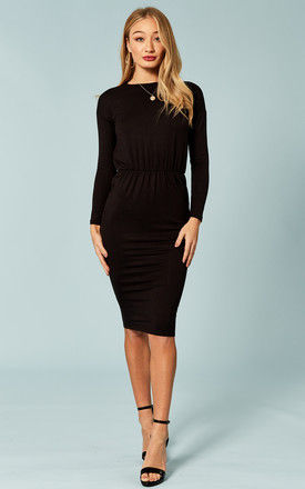 Black rouched waist midi dress by Bella and Blue
