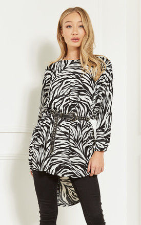 Black and White Zebra High Low Top by Bella and Blue