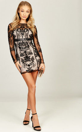 Pink Bodycon Mini Sheer Overlay in Black by Bella and Blue
