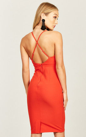 Red cross back dress by Phoenix & Feather