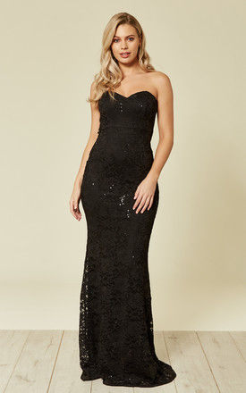 Lace Strapless Maxi Gown BLACK SEQUIN by FLOUNCE LONDON