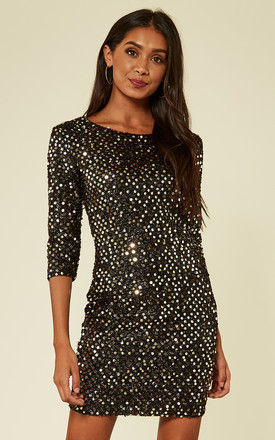 Black Gold Sequin Knitted Metallic Bodycon Dress by MISSI LONDON
