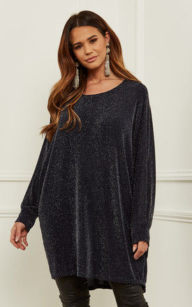 Navy Oversized Dipped Hem shimmer top by Bella and Blue