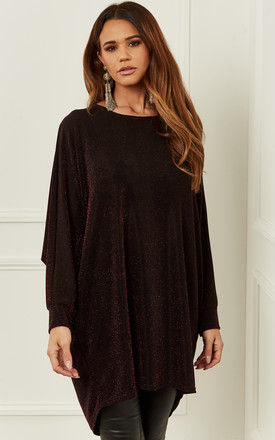 Dark Red Oversized Dipped Hem shimmer top by Bella and Blue