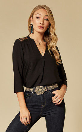 Black 3/4 Sleeve Lace Detail Blouse by VM