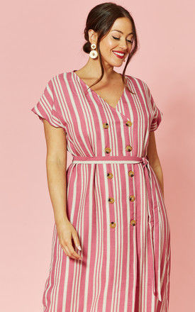 Plus Size Pink striped button front dress by Glamorous