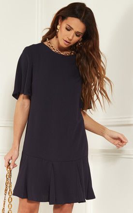 Navy Pleated Hem Shift Dress by Bella and Blue
