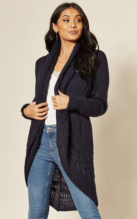 EXCLUSIVE Chunky Pleat Long Cardigan In Navy by Love
