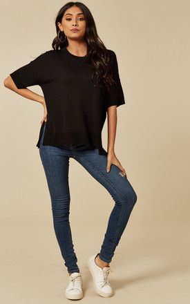Black Short Sleeve Knitted Top by Selected Femme