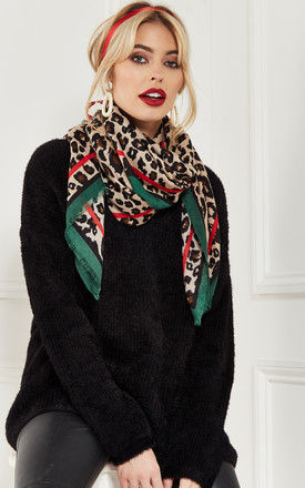 Green Leopard Scarf by Bella and Blue
