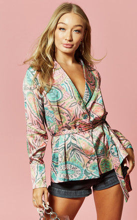 Printed Belted Blazer Blouse in Paisley by Glamorous