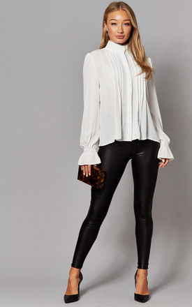 Leather Look Leggings in Black by ONLY