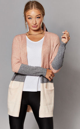 Open Front Cardigan in Pink Stripe by ONLY