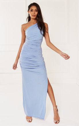 EXCLUSIVE Angelina Blue One Shoulder Maxi Bridesmaid Dress by Revie London