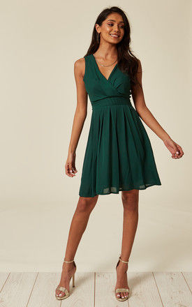 Tie Back Chiffon Dress with V Neck in Green by TENKI LONDON