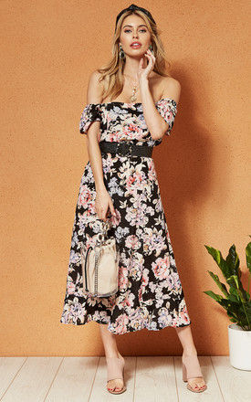SANTIAGO OFF the SHOULDER midi DRESS in black floral by Band Of Gypsies